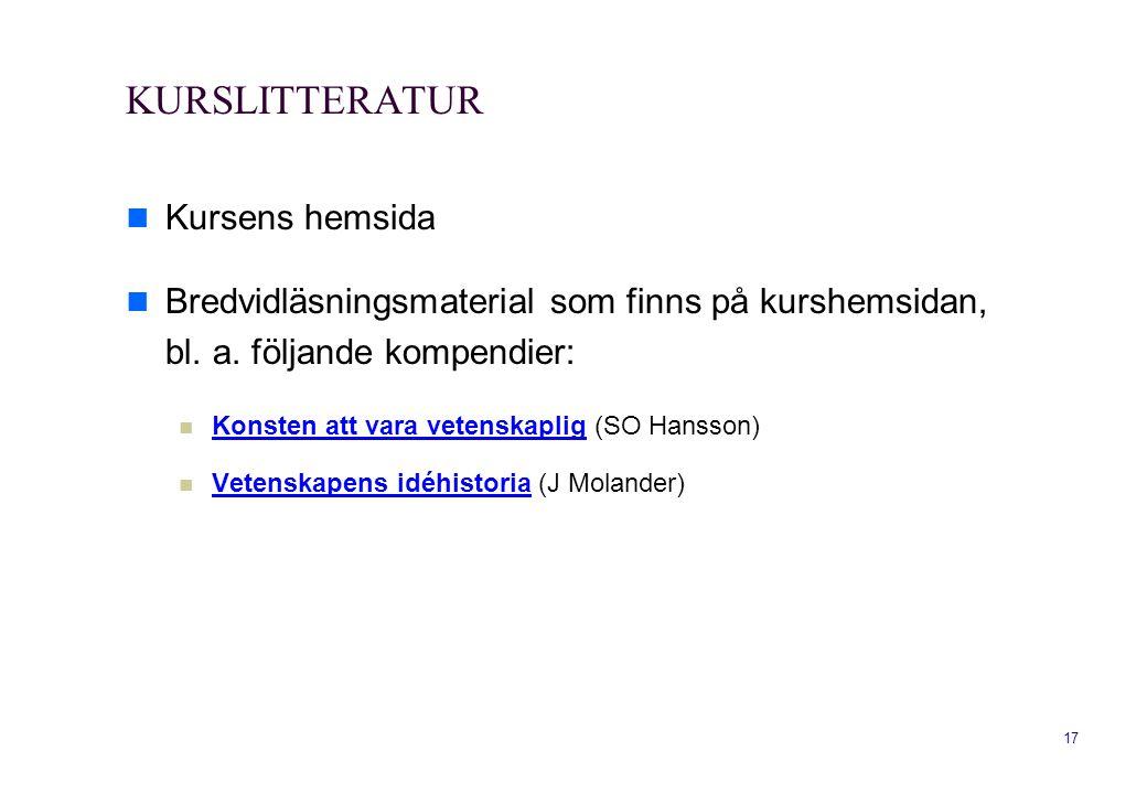 KURSLITTERATUR Kursens hemsida