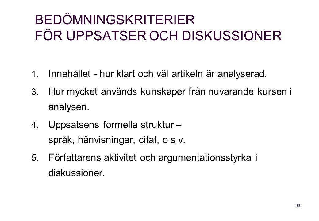 BEDÖMNINGSKRITERIER FÖR UPPSATSER OCH DISKUSSIONER