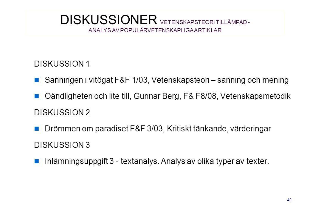 DISKUSSIONER VETENSKAPSTEORI TILLÄMPAD - ANALYS AV POPULÄRVETENSKAPLIGA ARTIKLAR