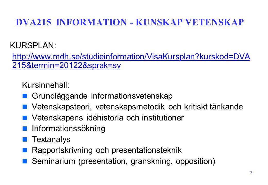 DVA215 INFORMATION - KUNSKAP VETENSKAP