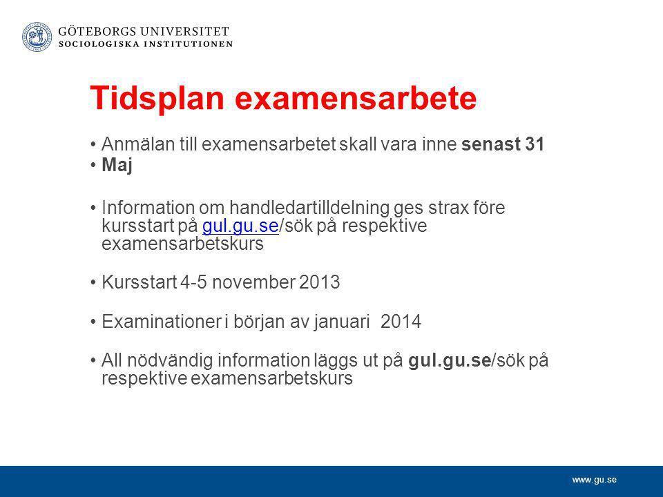 Tidsplan examensarbete