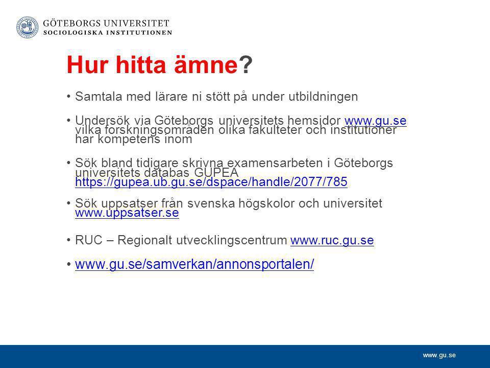 Hur hitta ämne www.gu.se/samverkan/annonsportalen/