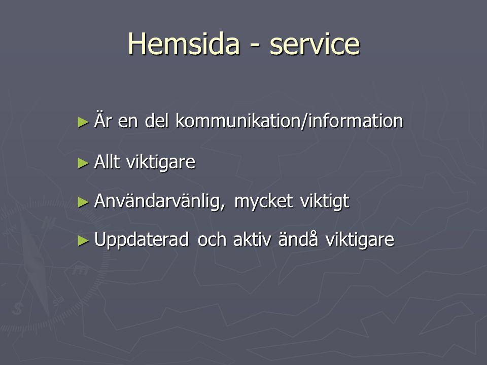 Hemsida - service Är en del kommunikation/information Allt viktigare