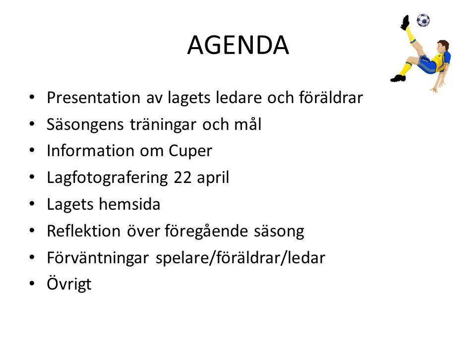 AGENDA Presentation av lagets ledare och föräldrar