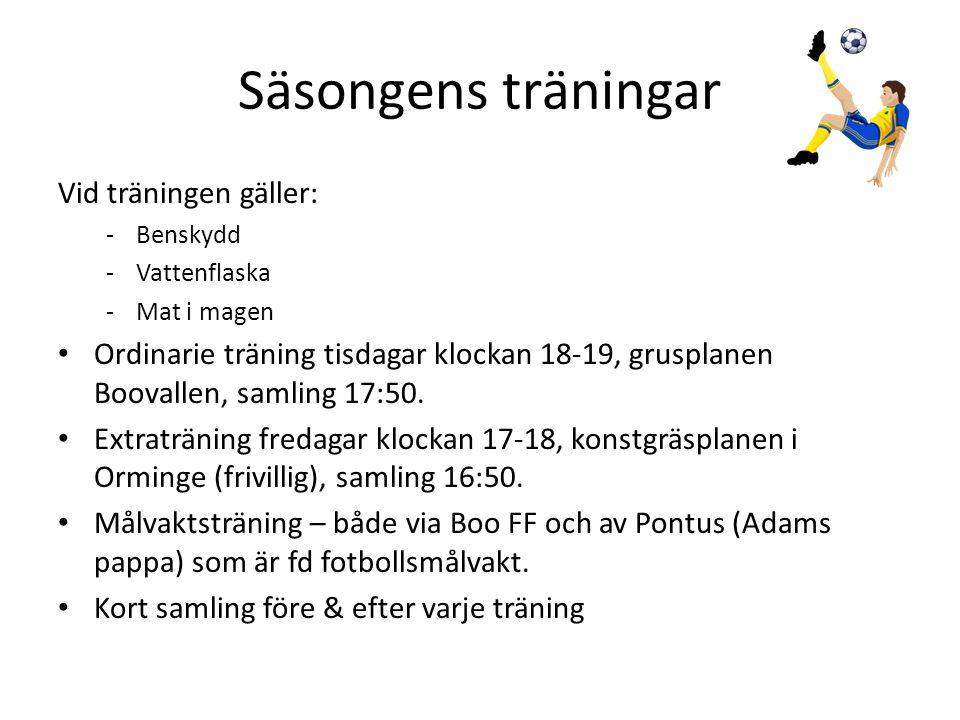 Säsongens träningar Vid träningen gäller: