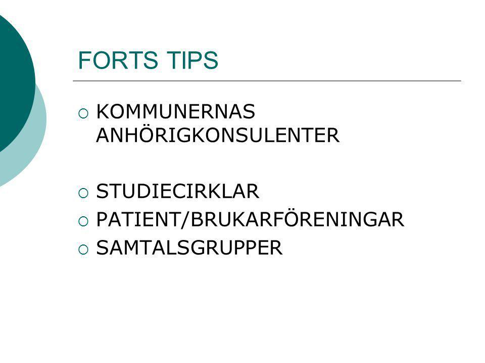 FORTS TIPS KOMMUNERNAS ANHÖRIGKONSULENTER STUDIECIRKLAR