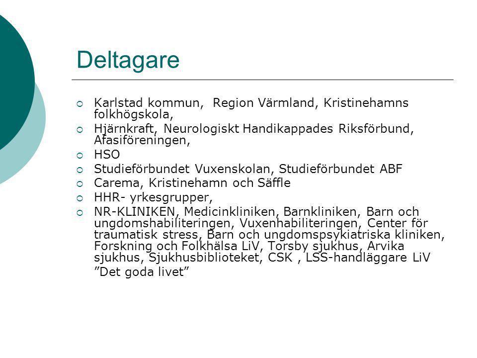 Deltagare Karlstad kommun, Region Värmland, Kristinehamns folkhögskola, Hjärnkraft, Neurologiskt Handikappades Riksförbund, Afasiföreningen,