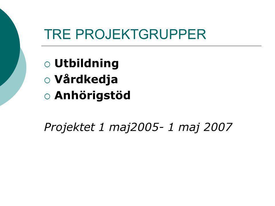 TRE PROJEKTGRUPPER Utbildning Vårdkedja Anhörigstöd