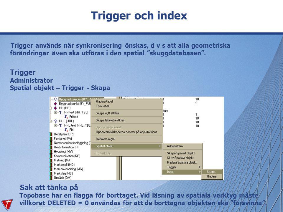 Trigger och index Trigger används när synkronisering önskas, d v s att alla geometriska förändringar även ska utföras i den spatial skuggdatabasen .