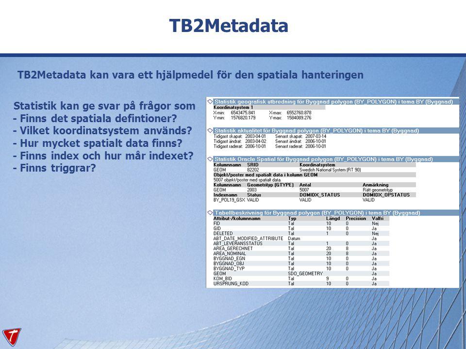 TB2Metadata TB2Metadata kan vara ett hjälpmedel för den spatiala hanteringen.