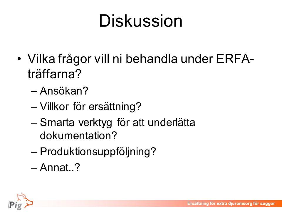 Diskussion Vilka frågor vill ni behandla under ERFA-träffarna