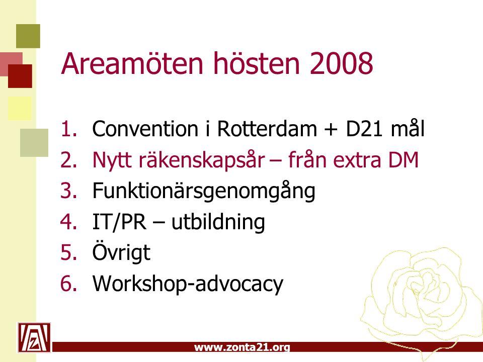 Areamöten hösten 2008 Convention i Rotterdam + D21 mål