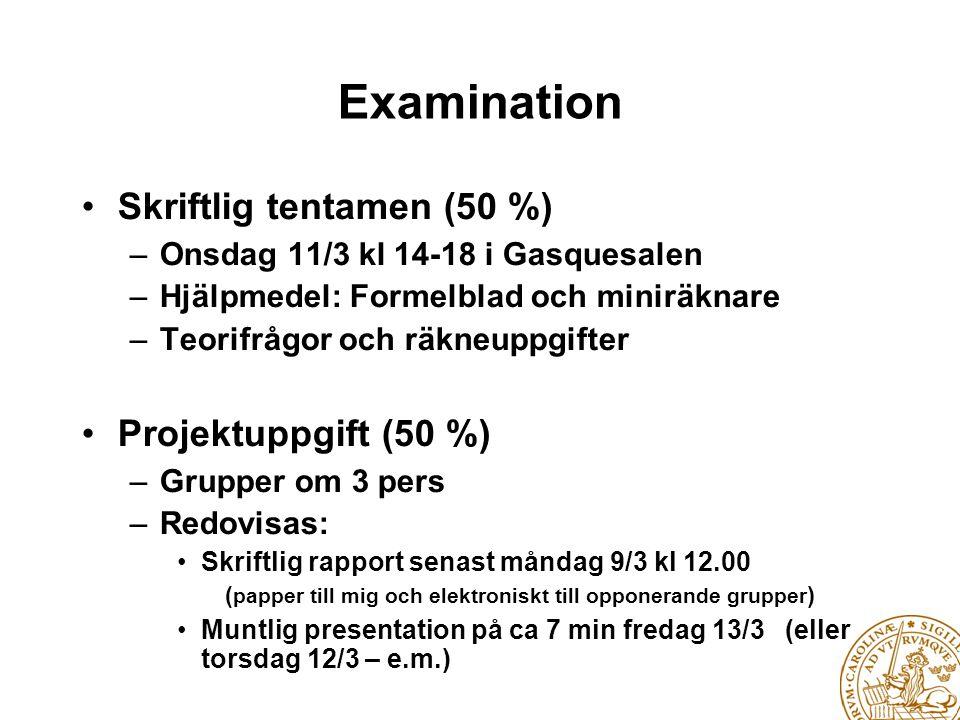 Examination Skriftlig tentamen (50 %) Projektuppgift (50 %)