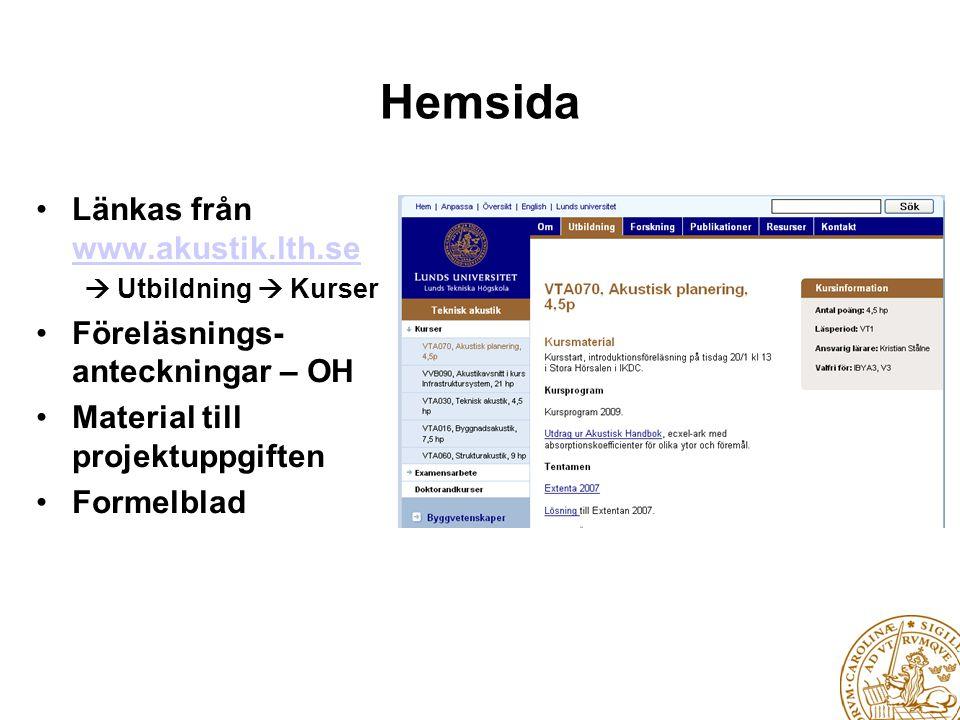 Hemsida Länkas från www.akustik.lth.se Föreläsnings- anteckningar – OH