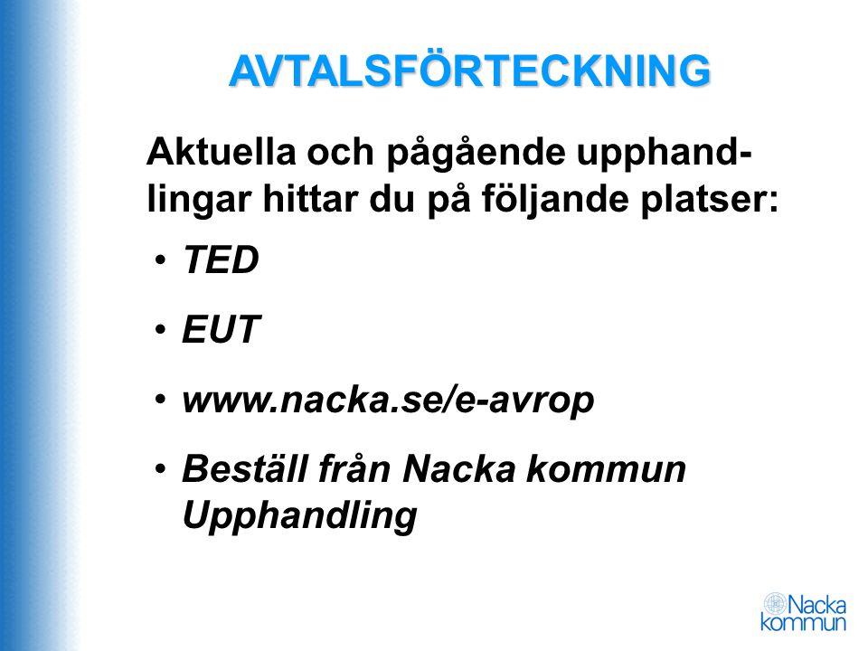 AVTALSFÖRTECKNING Aktuella och pågående upphand-lingar hittar du på följande platser: TED. EUT. www.nacka.se/e-avrop.