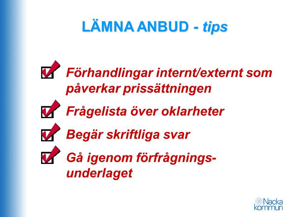 LÄMNA ANBUD - tips Förhandlingar internt/externt som påverkar prissättningen. Frågelista över oklarheter.