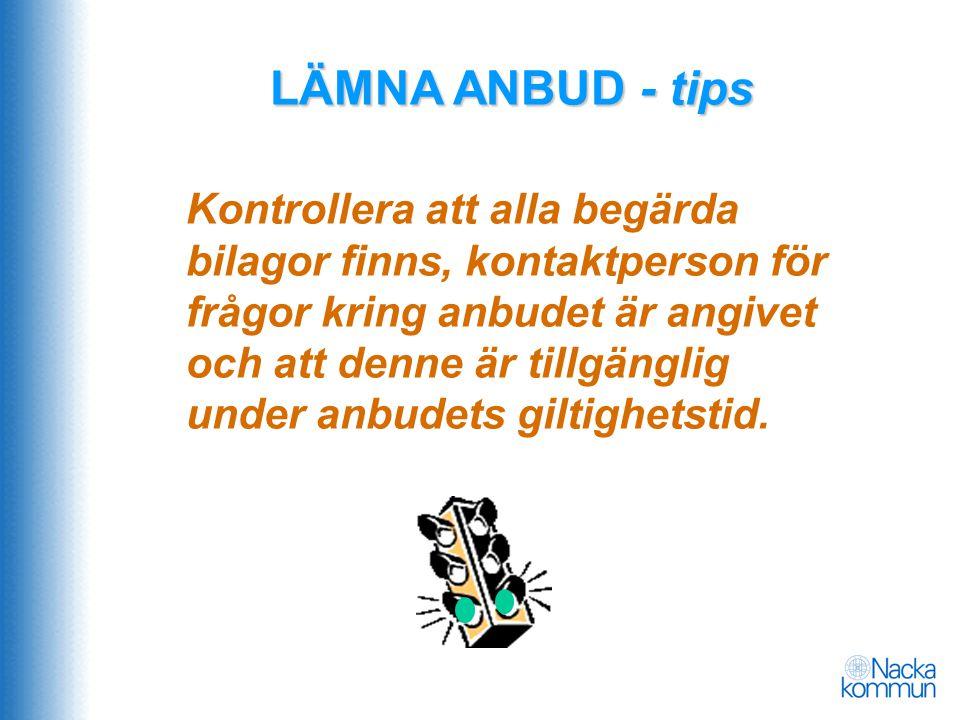 LÄMNA ANBUD - tips