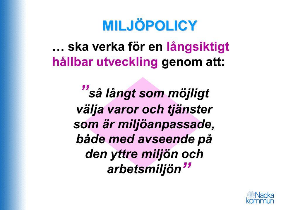 MILJÖPOLICY … ska verka för en långsiktigt hållbar utveckling genom att: