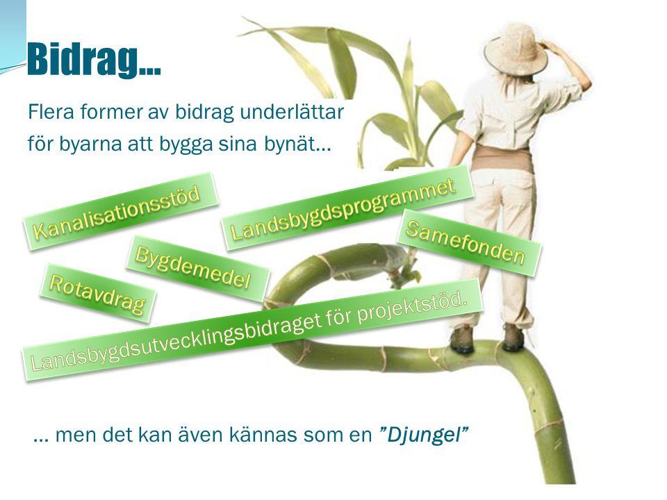 Bidrag… Flera former av bidrag underlättar för byarna att bygga sina bynät… Kanalisationsstöd. Landsbygdsprogrammet.