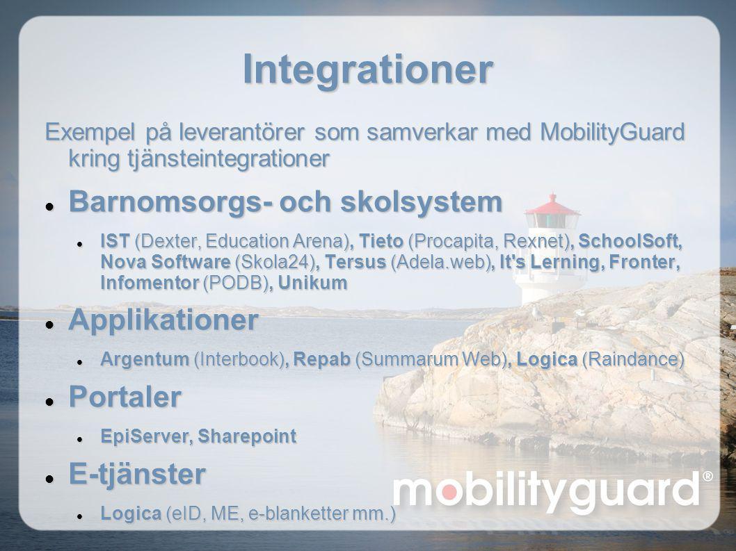 Integrationer Barnomsorgs- och skolsystem Applikationer Portaler