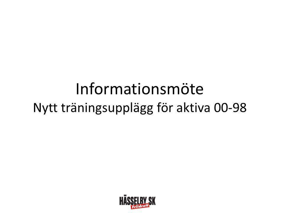 Informationsmöte Nytt träningsupplägg för aktiva 00-98