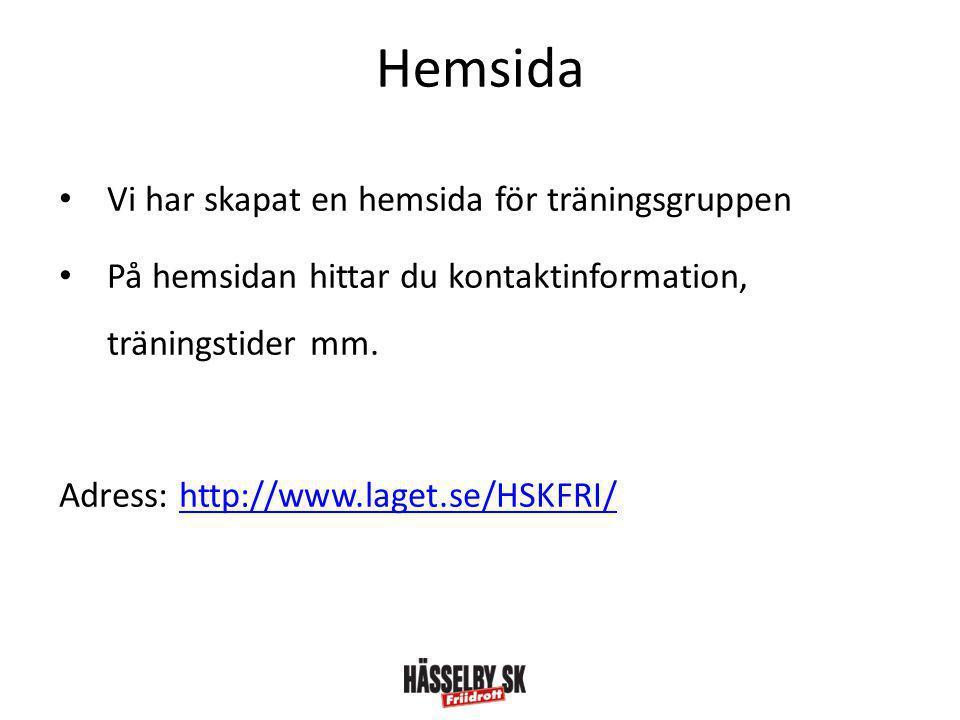 Hemsida Vi har skapat en hemsida för träningsgruppen