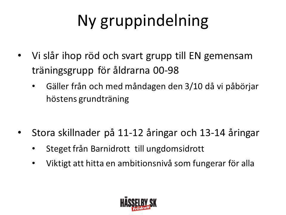 Ny gruppindelning Vi slår ihop röd och svart grupp till EN gemensam träningsgrupp för åldrarna 00-98.