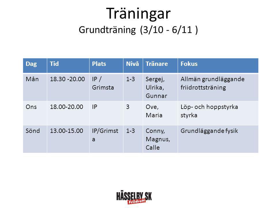 Träningar Grundträning (3/10 - 6/11 )
