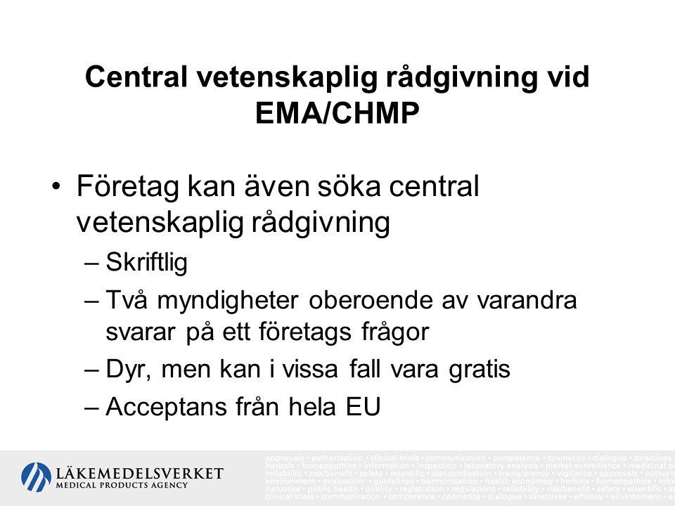 Central vetenskaplig rådgivning vid EMA/CHMP