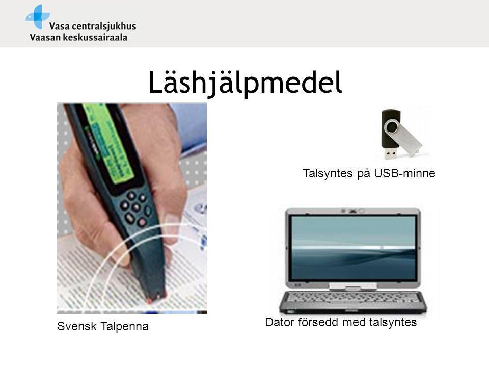 Läshjälpmedel Talsyntes på USB-minne Dator försedd med talsyntes