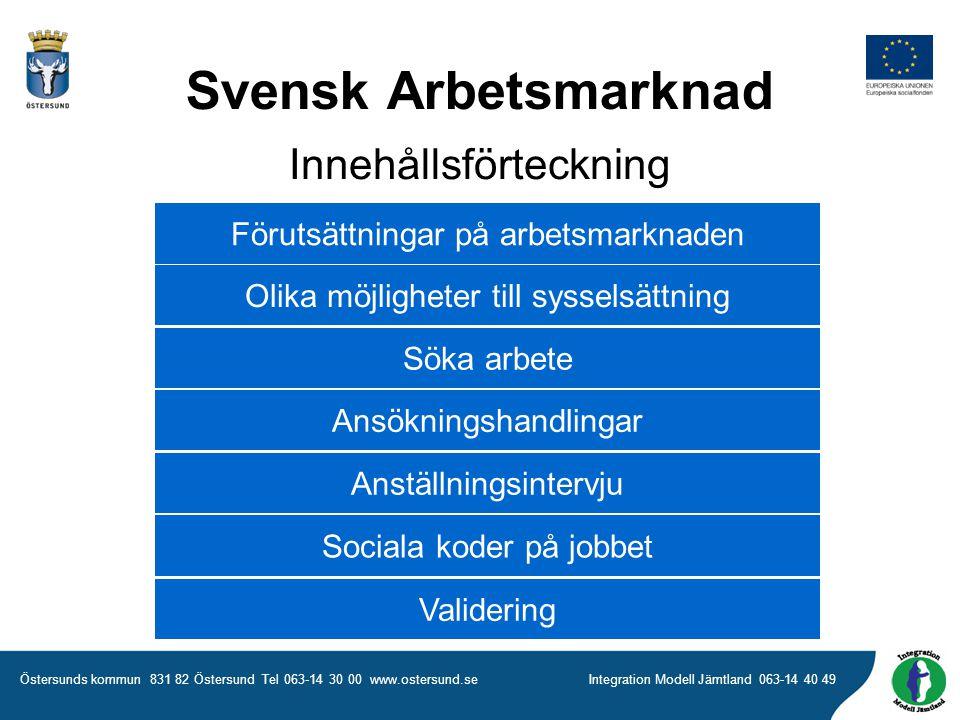 Svensk Arbetsmarknad Innehållsförteckning