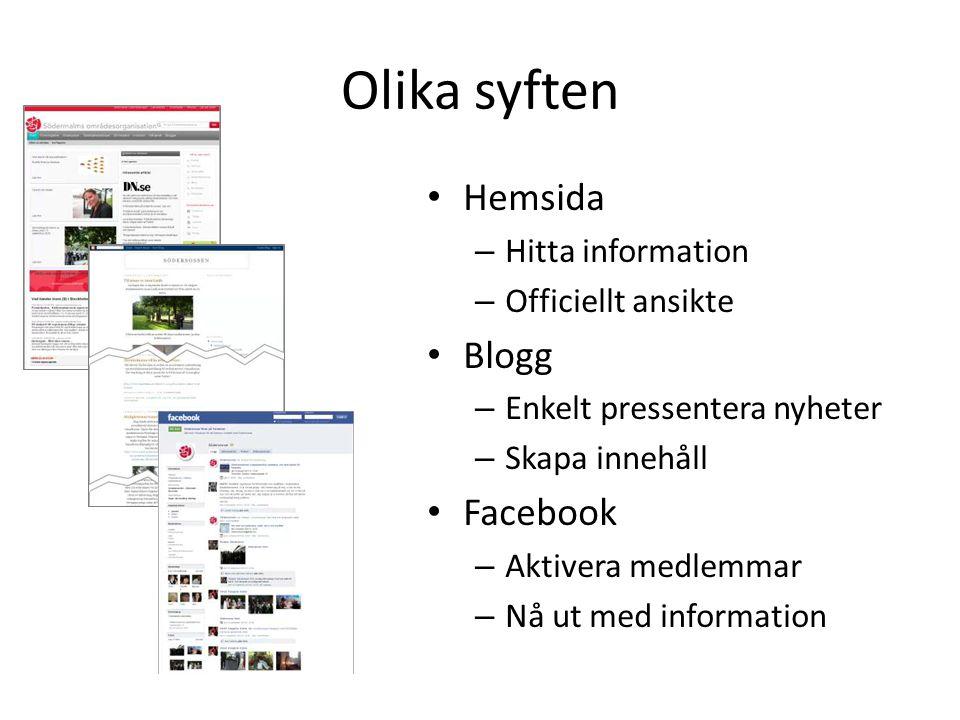 Olika syften Hemsida Blogg Facebook Hitta information