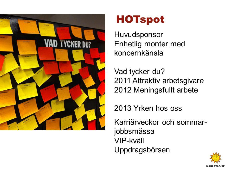 HOTspot Huvudsponsor Enhetlig monter med koncernkänsla Vad tycker du 2011 Attraktiv arbetsgivare 2012 Meningsfullt arbete 2013 Yrken hos oss.