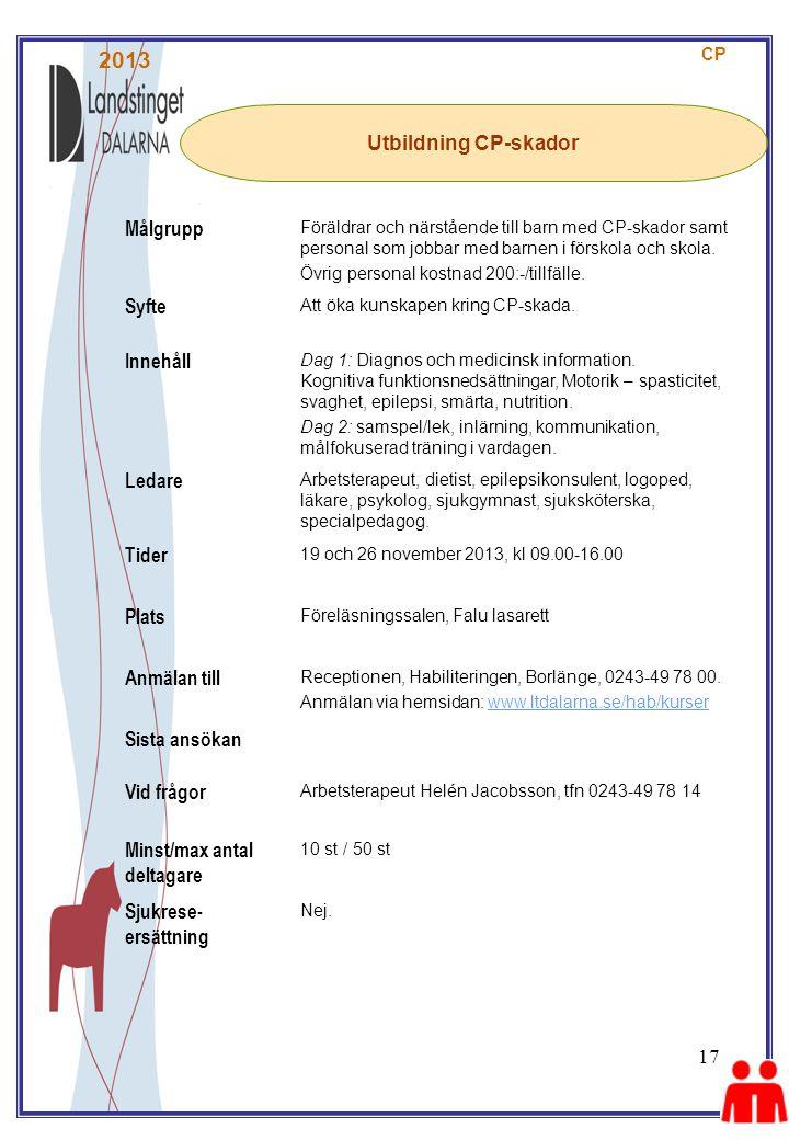 2013 Målgrupp Utbildning CP-skador Syfte Innehåll Ledare Tider Plats