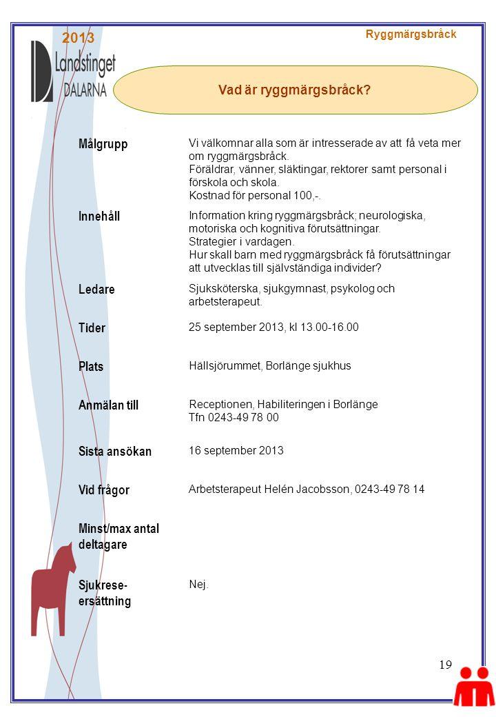 2013 Målgrupp Vad är ryggmärgsbråck Innehåll Ledare Tider Plats