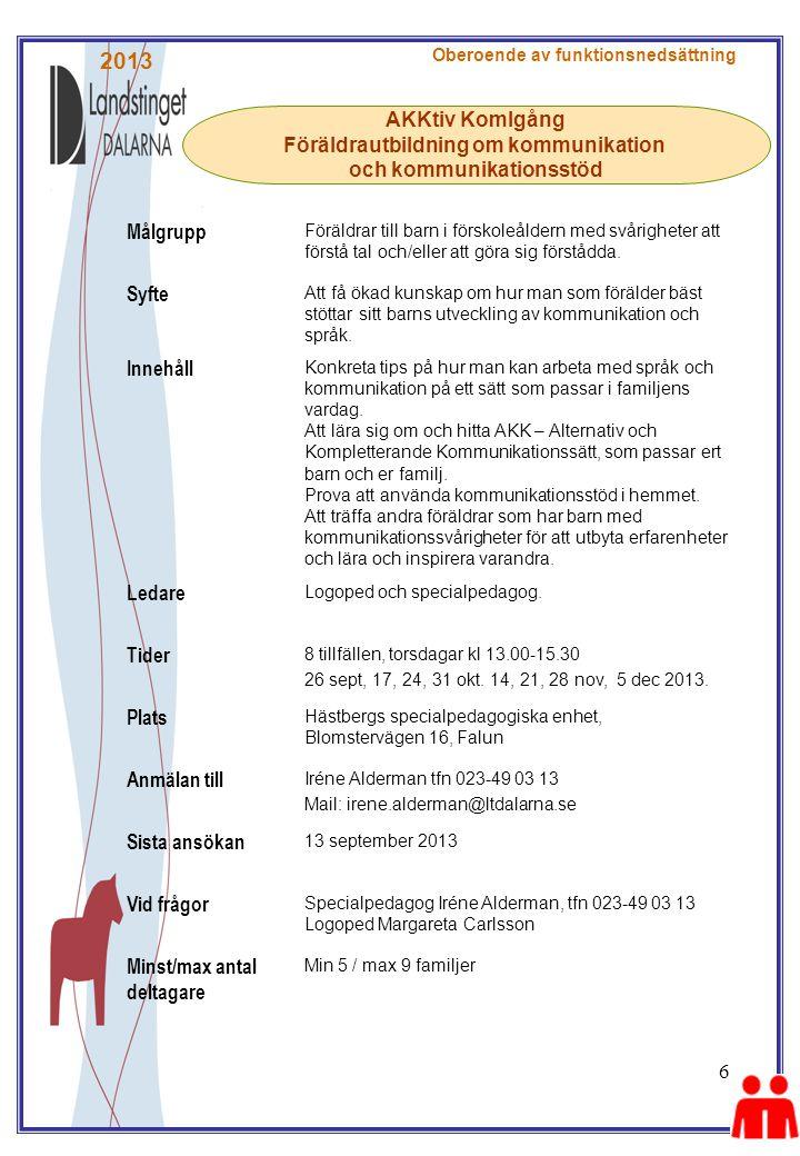 Föräldrautbildning om kommunikation och kommunikationsstöd