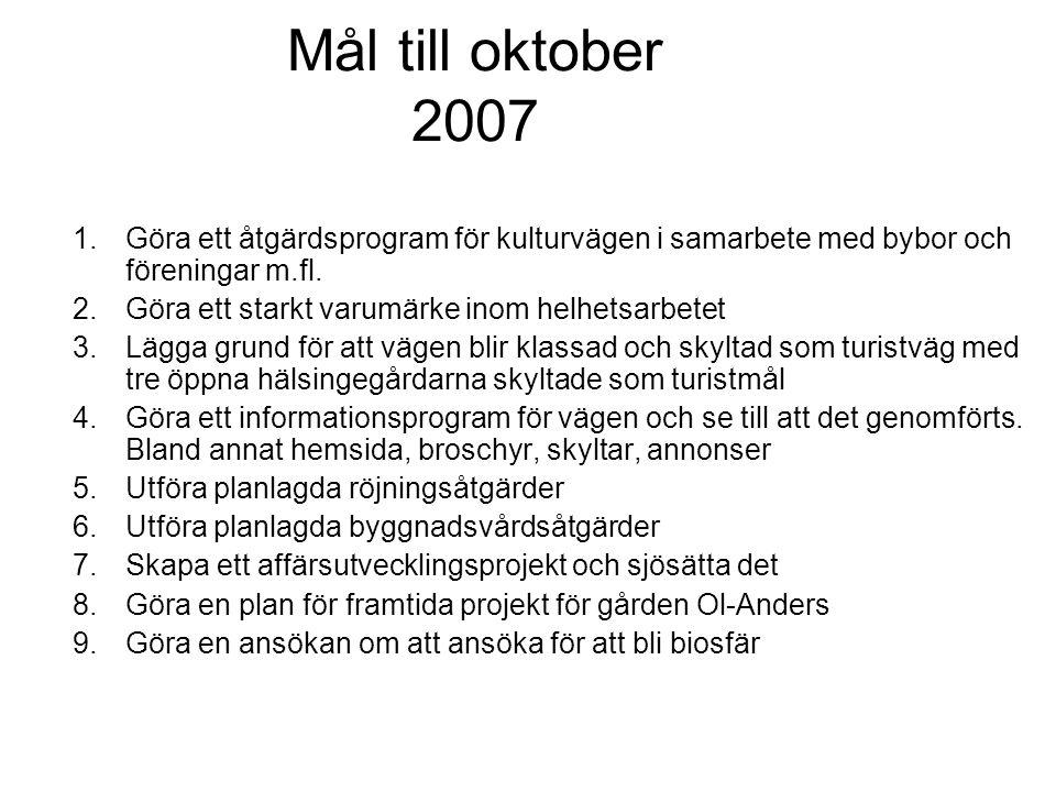 Mål till oktober 2007 Göra ett åtgärdsprogram för kulturvägen i samarbete med bybor och föreningar m.fl.