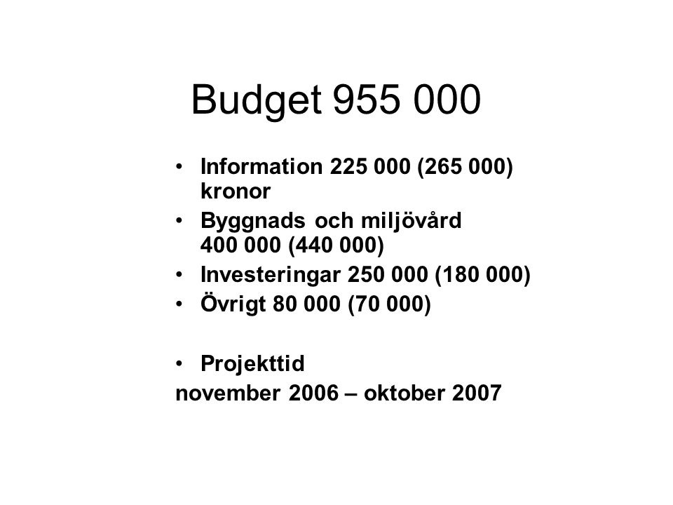 Budget 955 000 Information 225 000 (265 000) kronor