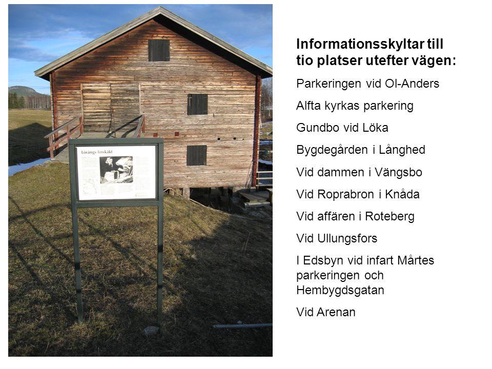 Informationsskyltar till tio platser utefter vägen: