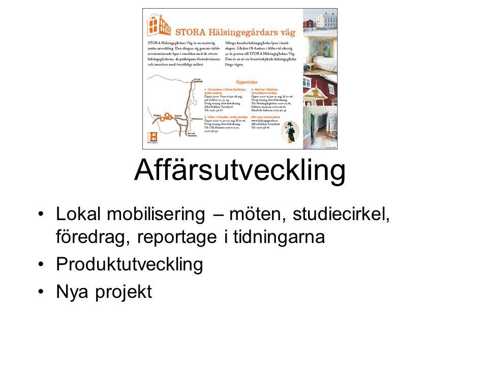 Affärsutveckling Lokal mobilisering – möten, studiecirkel, föredrag, reportage i tidningarna. Produktutveckling.