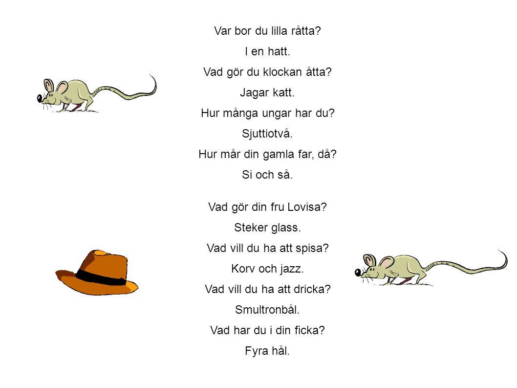 Var bor du lilla råtta. I en hatt. Vad gör du klockan åtta. Jagar katt