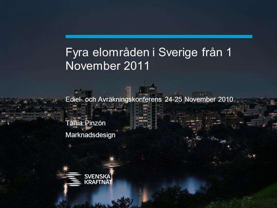 Fyra elområden i Sverige från 1 November 2011