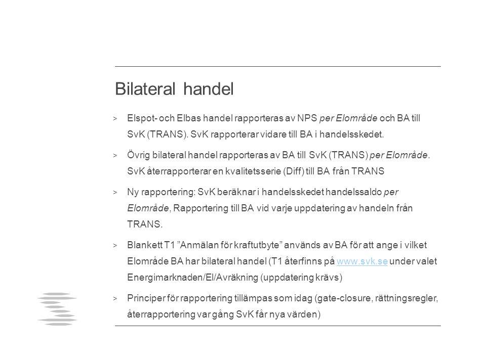 Bilateral handel Elspot- och Elbas handel rapporteras av NPS per Elområde och BA till SvK (TRANS). SvK rapporterar vidare till BA i handelsskedet.
