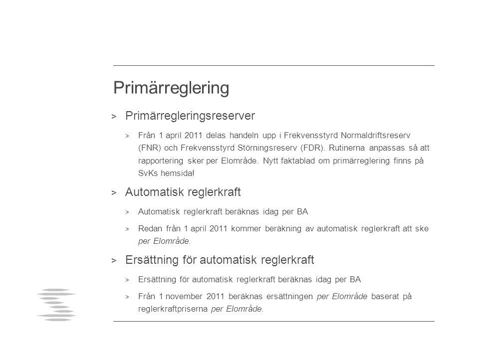 Primärreglering Primärregleringsreserver Automatisk reglerkraft