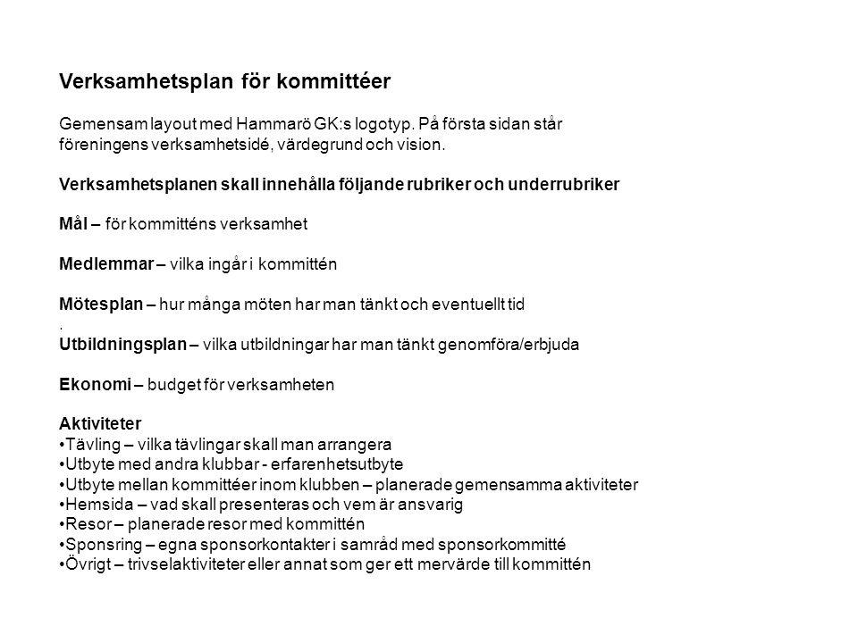 Verksamhetsplan för kommittéer