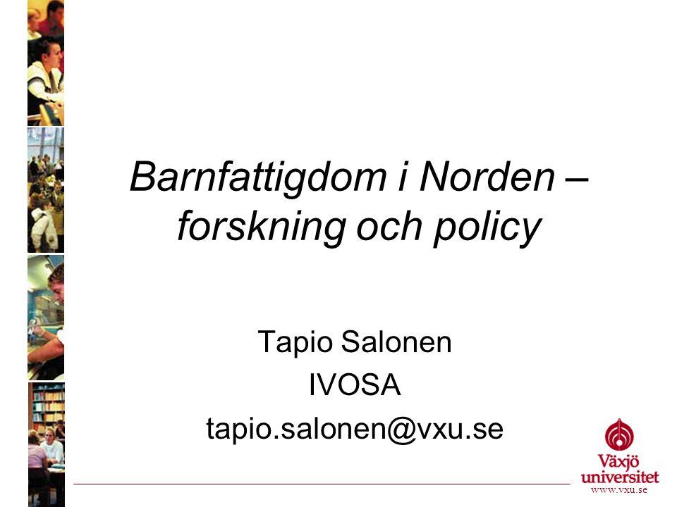 Barnfattigdom i Norden – forskning och policy