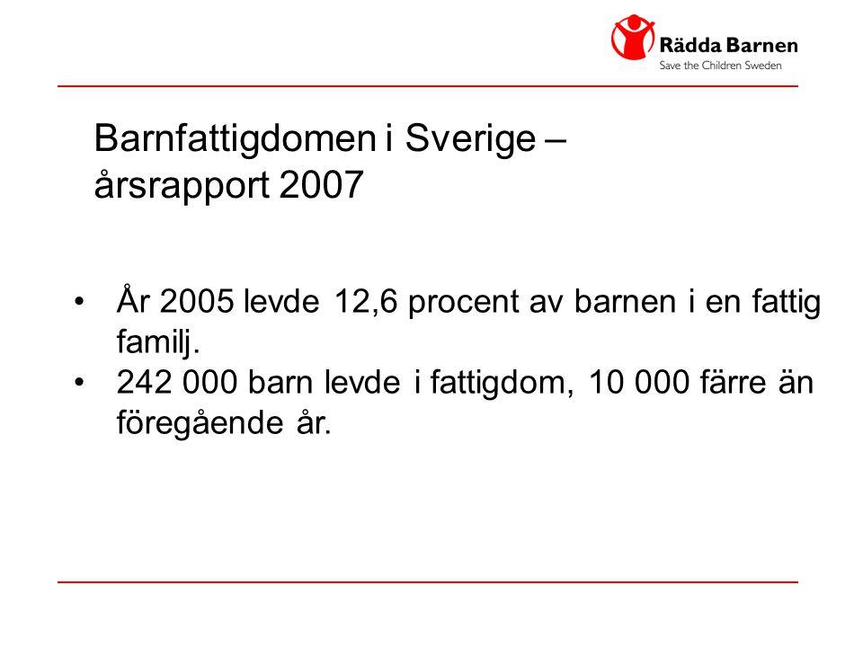 Barnfattigdomen i Sverige – årsrapport 2007