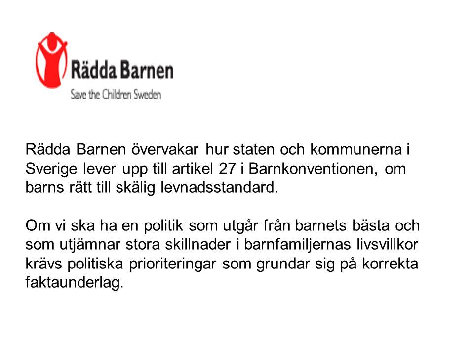 Rädda Barnen övervakar hur staten och kommunerna i Sverige lever upp till artikel 27 i Barnkonventionen, om barns rätt till skälig levnadsstandard.