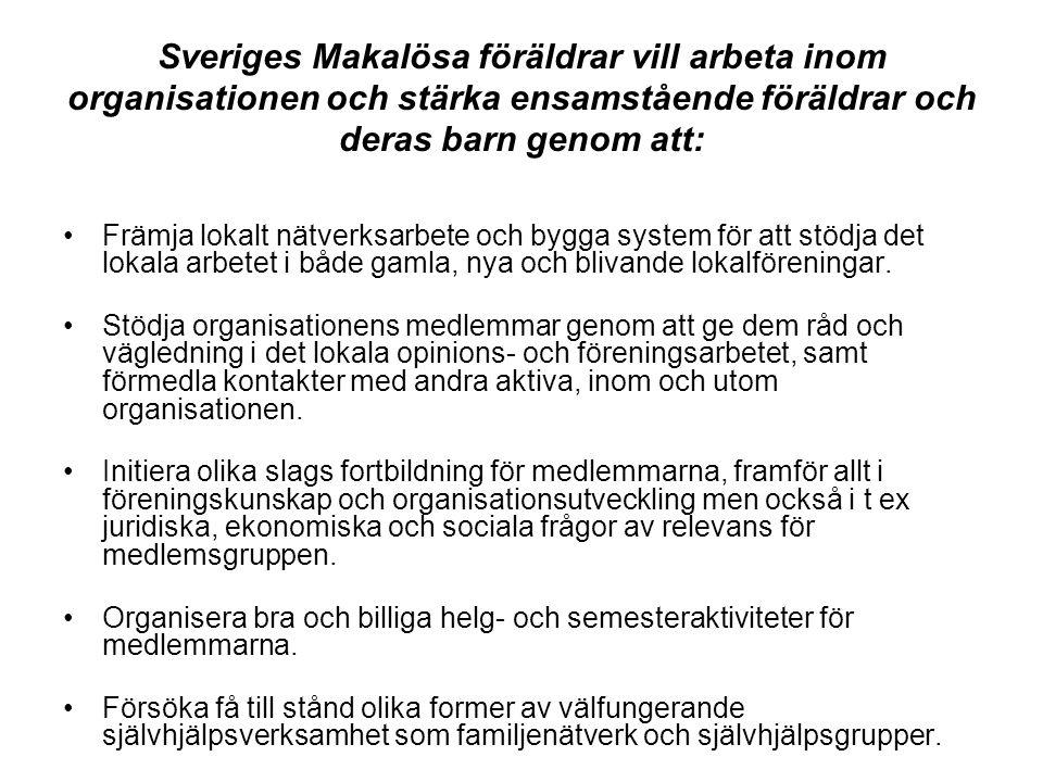 Sveriges Makalösa föräldrar vill arbeta inom organisationen och stärka ensamstående föräldrar och deras barn genom att: