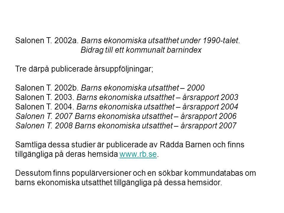Salonen T. 2002a. Barns ekonomiska utsatthet under 1990-talet.